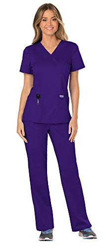 Cherokee Workwear Revolution Women's Medical Uniforms Scrubs Set Bundle - WW610 Mock Wrap Scrub Top & WW110 Pull On Scrub Pants & MS Badge Reel (Grape - Small/Medium Petite)