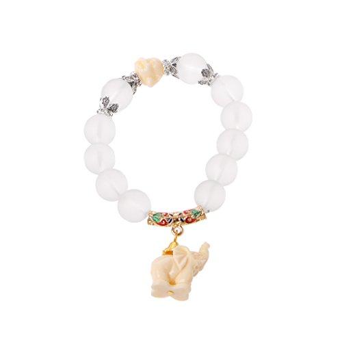 JUNESUN Bracelet Milky Crystal Quartz Healing Power Bead Boho Elephant Matte Clear Bracelet Women