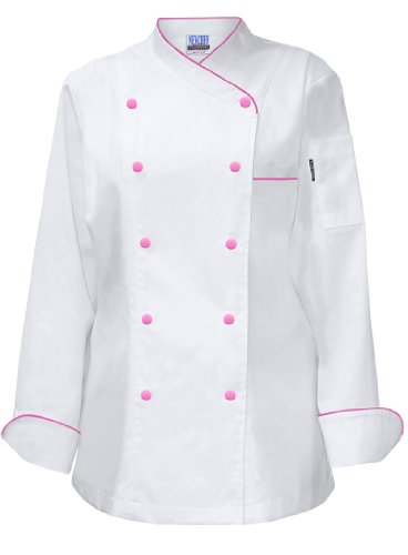 Newchef Fashion Lady Frenchy White Chef Coat with Hot Pink Trim M White by Newchef Fashion