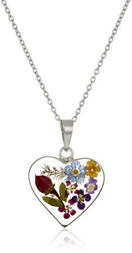Sterling Silver Floral Pendant - Sterling Silver Multi-Colored Pressed Flower Heart Pendant Necklace, 16