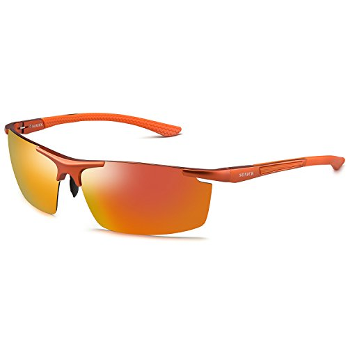 SOXICK Polarized Sports Sunglasses UV400 Metal Mens Womens Fashion Driving Sunglasses (Bright Orange Glass)