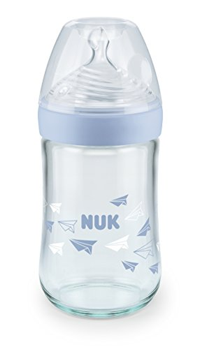 NUK Nature Sense Glass Bottle with Silicone 0-6 Months, M (6 Tiny Openings for Formula), Holds 240 ml Blue
