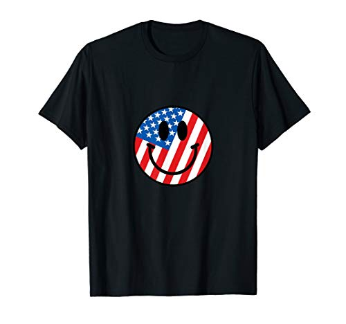 - 4th of July American Flag Smiley Face T-Shirt | USA emoji