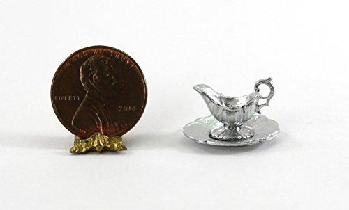 (Dollhouse Miniature 1:12 Silver Gravy Boat with Tray by Island Crafts & Miniatures )