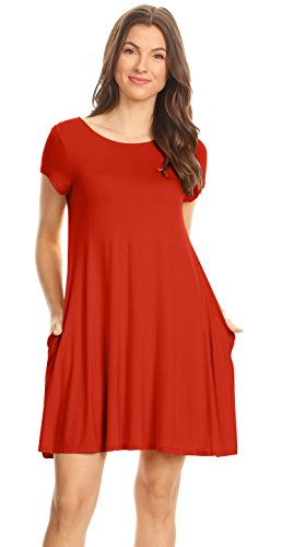 Women T for Tunic Shirt Dress Pockets USA Dress and Reg Flowy Plus with Size Casual Rust pIt4wqdI