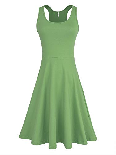 Missufe Women's Sleeveless Racerback Summer Casual Plus Size Tank Light Green Skater Dress (Light Green, X-Large)