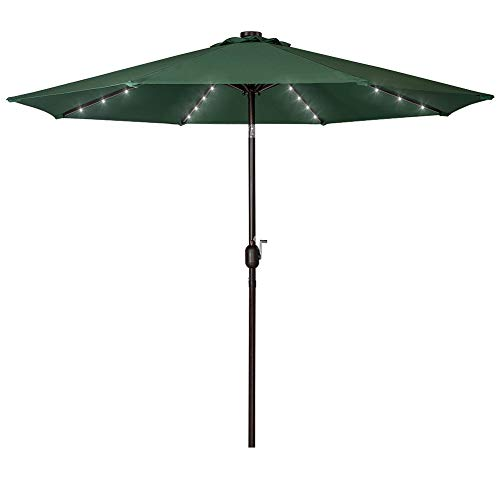 (Sundale Outdoor Solar Powered 32 LED Lighted Patio Umbrella Table Market Umbrella with Crank and Push Button Tilt for Garden, Deck, Backyard, Pool, 8 Steel Ribs, 9 Feet, Green)