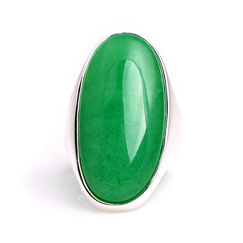 (16x36mm Oval Dyed Green Jade Beads Tibetan Silver Base Ring Send By Random US#6-#9)