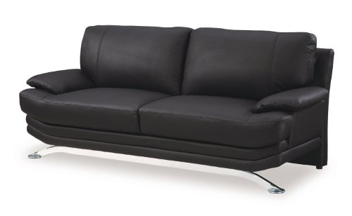 Global Furniture Wilcox Collection Bonded Leather Matching Sofa, 9250N, Black with Chrome Legs