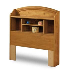 BeUniqueToday Twin Size Arched Bookcase Headboard in Country Pine Finish, Has A Hole for Wires & Plenty Shelves Spaces for All Sorts of Things, Abundant Storage Space with 4 Storage Spaces and 1 Shelf