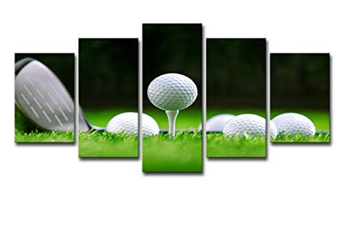 Paint By Number Canvas Ball - Mytinaart Paintings HD Printed 5 Piece Art Golf Course On Canvas Modern Landscape Golf Balls Modular Wall Pictures Decor Framed Posters