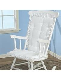 BabyDoll Bedding Eyelet Rocking Chair Cushion Set, White (Cushion Only)