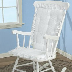 Bon BabyDoll Bedding Eyelet Rocking Chair Cushion Set, White (Cushion Only)