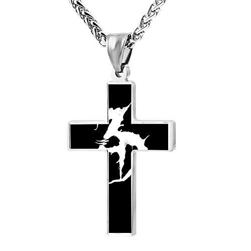 EveLHJLe4 Skuul Dead Couple Zinc Alloy Chain Cross Necklace Zinc Alloy Pendant Jesus Prayer Christian 24 Inch