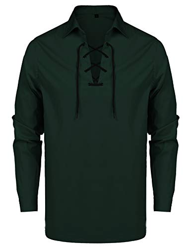 URRU Mens Casual Long Sleeve Lace-up Shirt Medieval Renaissance Pirate Costume Shirt Dark Green M -