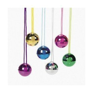 Fun Express Assorted Color Disco Ball Necklaces (2-Pack of 12)
