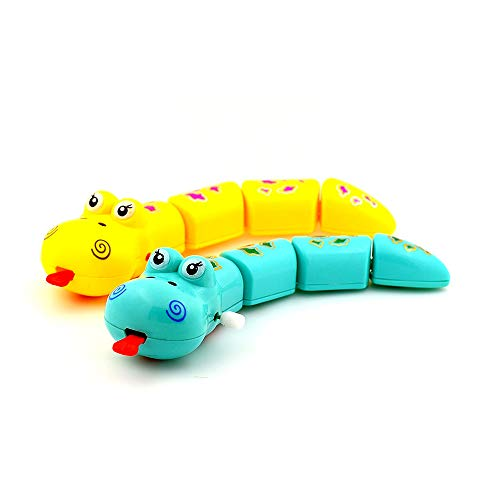 2PCS | Wind up Snake Plastic Cartoon Animal Clockwork Toy for Kids Small Flip Classroom Children's Party and Birthdays Toys Children Kids Random Color ()