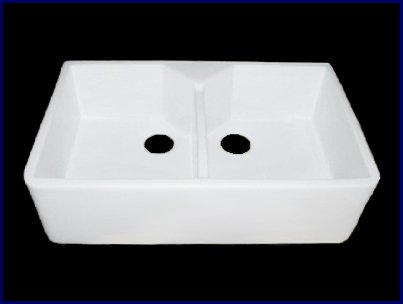 Barclay FS31 31-Inch Fire Clay Double Bowl Farmer Sink, White (Apron Front Bar)
