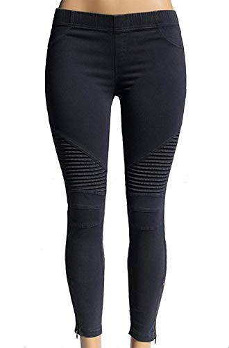 Beulah Womens Ankle Zip Moto Pant Small Midnight Blue