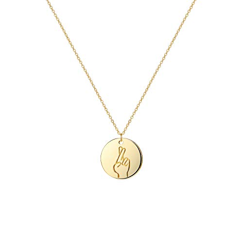 LOYATA Finger Crossed Hand Gestures Pendant Necklace, 14K Gold Plated Simple Funny Personalized Cute Engraved Coin Pendant Necklace for Women