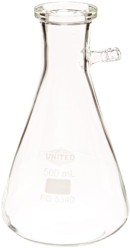 United Scientific FG5340-500 Borosilicate Glass Heavy Wall Filtering Flask, Bolt Neck with Tubulation, 500ml Capacity (Heavy Wall Filtering Flasks)