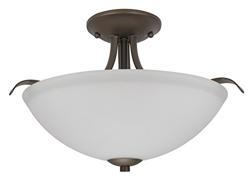 Aged Bronze Semi Flush - Nuvo Lighting 60/5916 Dillard 2 Light 60W A19 max. Medium Base Semi-Flush Dome with White Glass, Aged Bronze