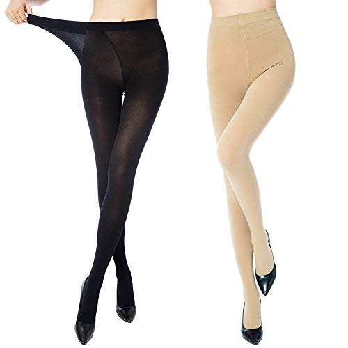 MANZI 2 Pairs Women's Control Top Plus Size Pantyhose High Waist Opaque Tights ()