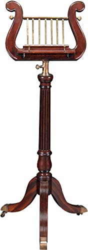 EuroLuxHome Music Stand Solid Mahogany Wood Brass Lyre Harp Shape Adjustable Height