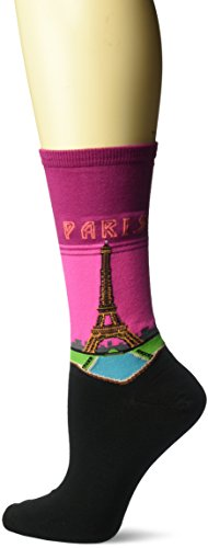 - Hot Sox Women's Travel Series Novelty Fashion Crew, Paris (Magenta), Shoe Size: 4-10