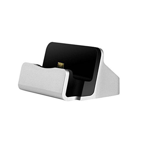 Desktop Doppel Micro USB Ladegerät Dockingstation Ladestation Für Android Handy - Silber