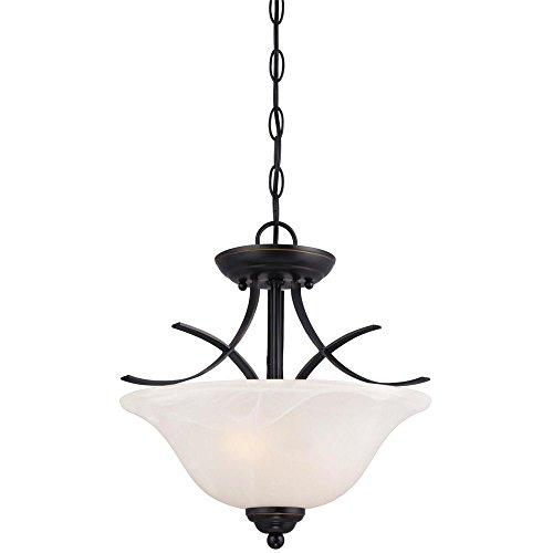 Bronze Convertible Semi Flush - Westinghouse 6340300 Pacific Falls Two-Light Indoor Convertible Pendant/Semi-Flush Ceiling Fixture, Amber Bronze Finish with White Alabaster Glass