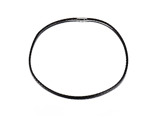 VNOX Genuine Leather Thin Rope Chain Necklace,Black,3mm Width,18 inches