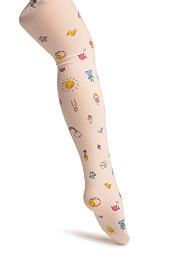 White With Printed Rainbow & Ice Cream - Girls Tights - Kids Tights - Blanco Medias para ni?os 9-10 a?os