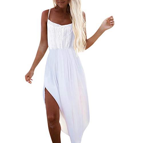 Aniywn Women's Summer Off Shoulder Boho Dress Sleeveless Lace Sundress Side Split Beach Dresses -
