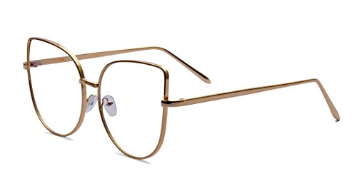 ALWAYSUV Classic Cat Eye Frame Clear Flat Lens Thin Temple Glasses - Most Popular Frames