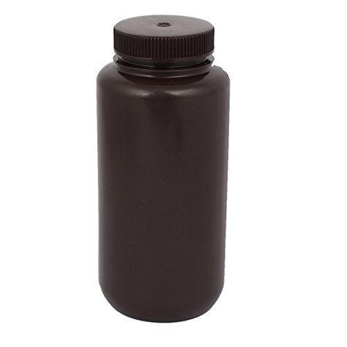 uxcell 1000ml Plastic Wide Mouth Chemical Laboratory Reagent Bottle Sample Bottle Brown by uxcell