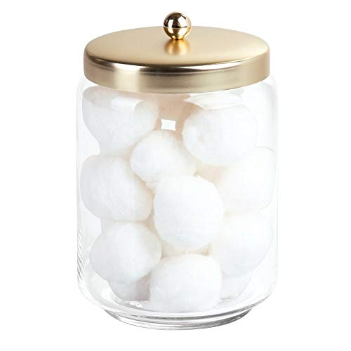 mDesign Glass Bathroom Vanity Storage Organizer Apothecary Canister Jar for Cotton Swabs, Cotton Rounds, Cotton Balls, Makeup Sponges, Bath Salts - Clear/Soft -