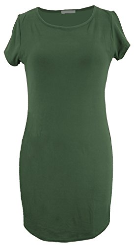Young Lady Dress - Young USA Ladies Fashion Blouse Dress (S, Kalamata Olive)