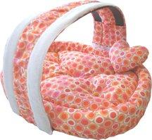 Pampered Pet Dog Cat Bed W/ Pillow – Basket Polka Dot Bed, My Pet Supplies