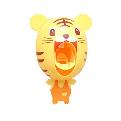 BigNoseDeer Baby Toothbrush Dispensers,Kids Hands Free Toothpaste Dispenser Children Automatic Cartoon Cute Animal Toothpaste Squeezer Good Gift for Children (Tiger)