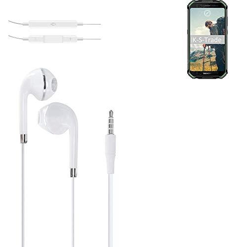 K-S-Trade Kopfhörer Kompatibel Mit Doogee S40 Mit Mikrofon U Lautstärkeregler Weiß 3,5mm Klinke Kabel Headphones…