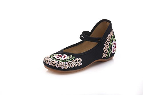 Lazutom Women Lady Vintage Chinese Style Embroidery Mary Jane Flats Casual Walking Dancing Shoes Black