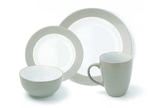 ZENY 16-Piece Round Stoneware Dinnerware Set, Included Plates Dishes Bowls Mugs, Service for 4 (Grey)