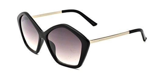 Dollhouse Women's Geometric Sunglasses, Opaque Black Frame with Metal Temple, APG Smoke Lens, - Dollhouse Sunglasses