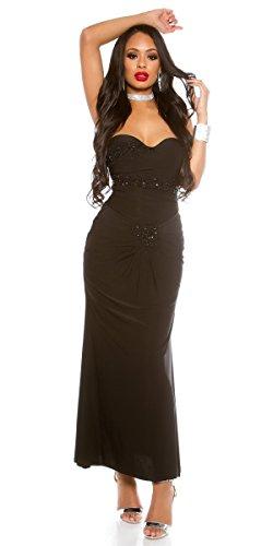 und Kleid Festliches Schmucksteinen schwarz Herzausschnitt mit wxCYYtd1q