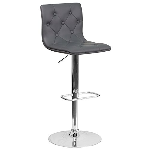 Flash Furniture Contemporary Tufted Gray Vinyl Adjustable Height Barstool with Chrome Base (Tufted Back Vinyl)