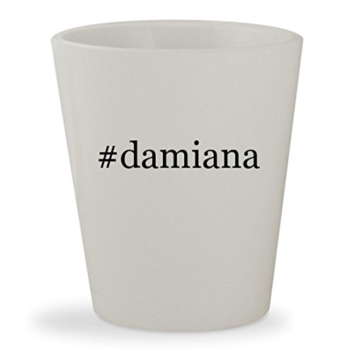 #damiana - White Hashtag Ceramic 1.5oz Shot Glass Damiana Liqueur