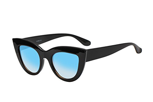 UV Protection Cat Eye Sunglasses ,Mirrored Flat Lens Women Fashion Glasses (Black-blue - Black Flat Glasses