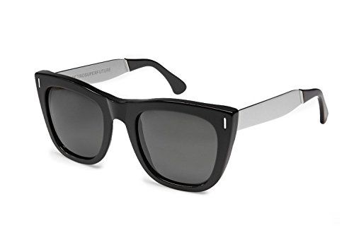 RETROSUPERFUTURE Gals Black Silver with Black Lenses 4DF SUPER - Gals Sunglasses Super