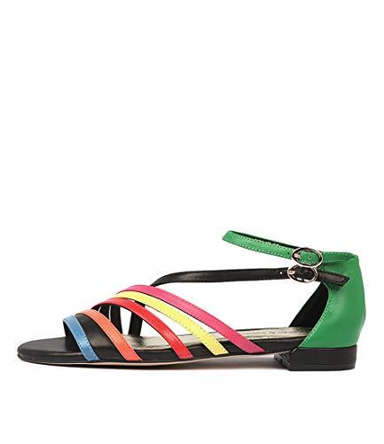 DJANGO & JULIETTE Lattice Womens Flat Sandals Summer Sandals NEW BRIGHT MULT LEATHER